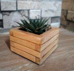 Wooden Planter Box(Brown) With Pure white stones, Hand Made Product In Sri Lanka