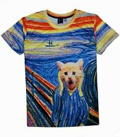 The Scream Painting Cat T-Shirt (all over funny cat t shirt)