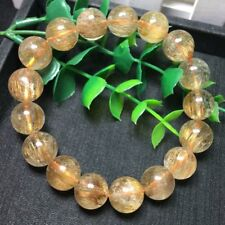 Natural Crystal Bracelet Gold Hair Brazilian Titanium Beads AAA 13.5mm