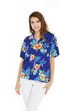 Women Ladies Aloha Shirt in Hibiscus Blue
