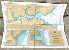 1972 Vintage Maritime Map Cornwall Cornish South Coast Helford River Mevagissey