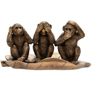Large Reflections Bronzed 3 Wise Monkeys See No Evil Hear Speak Leave Ornament