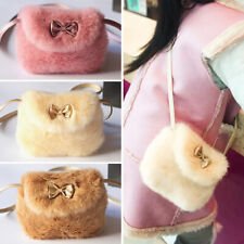 2018 Cute Lovely Faux Fur Baby Girls Kids Mini Crossbody Bag Purse Bowknot Pink