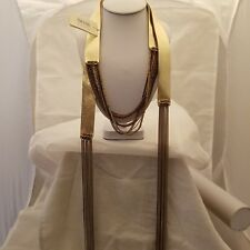 Gold Faux Leather 67 Inch Wrap Necklace
