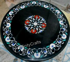 30 x 30 Inches Modern Coffee Table Top Heritage Art Black Inlay Center Table