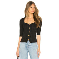 New FREE PEOPLE Womens Extra Small Black Knit Top Central Park Square Neck XS