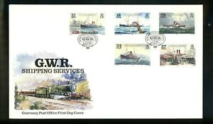 Postal History Guernsey FDC #411-415 Shipping services ship steamers 1989
