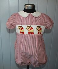 smocking Christmas baby toddler smocked romper embroidery reindeer cotton 18-24m