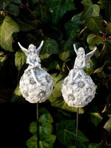 Elfen Elfe Fee auf Kugel 2 Mod Gartendeko Beetstecker Fabelwesen Figur FROSTFEST