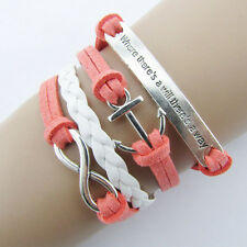 Woven Leather pink Where theres a will there's a way Charms Bracelet BL15