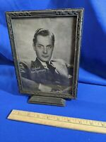 ROBERT MONTGOMERY MOVIE STAR PHOTO ART DECO PICTURE FRAME CARVED WOOD GLASS VTG