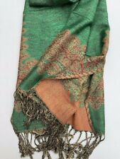 NEW SCARF WATER SHAWL WRAP PASHMINA SILK GREEN NEPAL HANDMADE HEADSCARF