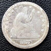 1877 CC Seated Liberty Quarter 25c Circulated #20456