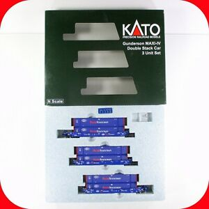 N Scale PACER Gunderson MAXI-IV 53' Double Stack Well 3-Car Set -- KATO 106-6179