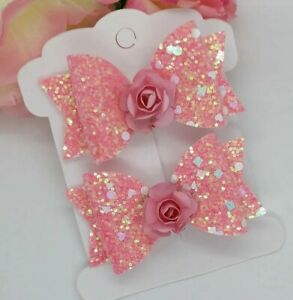Pink Sparkling GLITTER HAIR clips BOWS GIRLS HAIR CLIPS GLITTER Hair Bows  Pink