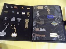Salesman Sample Case of Pins Key Chains and Metal Promotional Items