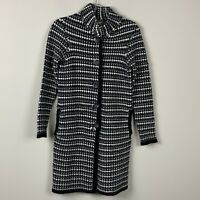 Cocogio Italy Long Sleeve Black White Gray Duster Sweater Women's size S Pockets