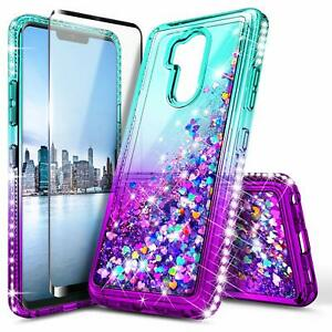 For LG G7 ThinQ / G7 Fit Case Liquid Glitter Bling Phone Cover + Tempered Glass
