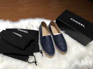 Chanel Espadrilles Navy Lambskin Sz Eu 38 preloved with box & dustbag