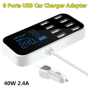 Multi-Port 8 USB Car Charger Power Adapter Fit For Apple iPhone Android Samsung