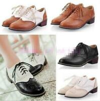 Womens Low Heel Wingtip Lace Up Oxford Retro Carved Brogues Preppy Shoes Plus Sz