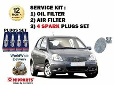 FOR TOYOTA YARIS 1.0i 1999-4/2006 NEW SERVICE KIT OIL AIR FILTER + 4 PLUGS SET