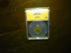 1867 RAYS(ANACS) SHIELD NICKEL - NICE TONING AND LUSTER+++