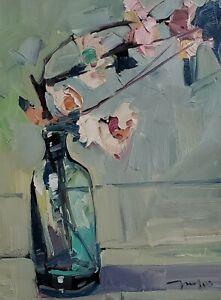JOSE TRUJILLO Oil Painting IMPRESSIONISM STILL LIFE 12X16 BOTTLE MODERN ARTIST