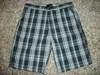 HURLEY New NWT Mens Walk Shorts Casual Black Blue Plaid 32
