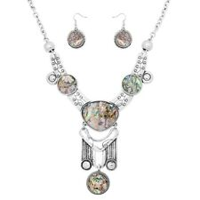Silver and Faux Abalone Drop FASHION Necklace Set