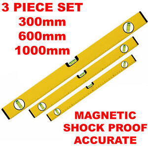 YELLOW MAGNETIC 3 PIECE BUILDERS BUILDING SPIRIT LEVEL SET - 300, 600, 1000mm