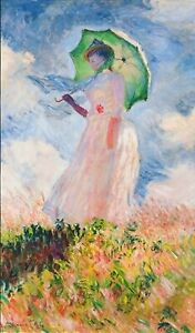Digitally Printed Fabric Panel Claude Monet Woman with Parasol SRK-17075-63 SKY