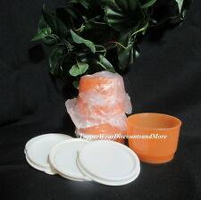 Tupperware NEW Bright Orange SNACK CUP CUPS Set 4 Bowls Cream White Seal Seals