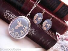 Blue Hummingbird Cameo Locket French earring Silver pink purple Photo GIFT BOX
