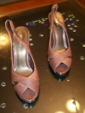 NWB Women's Nine West Dark Brown Leather Wedge Open Toe Sling Backs, 9 1/2 W