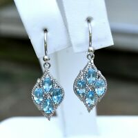 1.70ct Blue Topaz Dangle Earrings 925 Sterling Silver December Birthstone NEW
