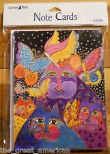 8 Leanin Tree Note Cards Laurel Burch Colorful Cats With Butterflies USA Made