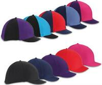 Shires Riding Skull Hat Helmet Cover Silk Plain or Multi  Designs - Peaked.