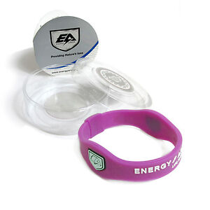 Energy Armor Superband Negative Ion Wristband Bracelet Purple with White Letters