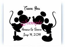 100 Personalized Disney Mickey and Minnie Black Kiss Wedding Thank You Cards
