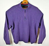 Robert Graham Men 2XL Purple Thermal Waffle 1/4 Zip Pullover Rainbow Collar