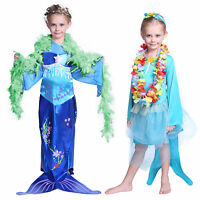 3-7 Year Girls Princess Little Mermaid Tail Costume Outfit Cosplay Fancy Dress