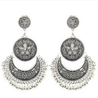 Vintage Silver Ethnic Tassel Bohemian Drop Dangle Earrings Women Fashion Jewelry