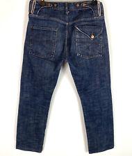 ELWOOD Mens Selvedge Jeans Button Fly Straight Leg Dark Wash Size 30