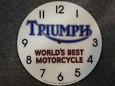 "*NEW*14.25"" TRIUMPH MOTORCYCLES BLACK NUM GAS MOTOR OIL RD GLASS FACE PAM CLOCK"