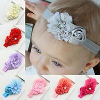 Baby Mädchen Schleife Rose Perle Strass Haarband Stirnband Kopfband Haarschmuck