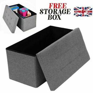 2 Seater Large Folding Storage Ottoman Bench Seat Stool Grey Linen Toy Chest Box