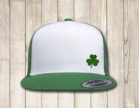 Flexfit Classic White Front Panel Trucker Irish Green Clover St Patricks Day Hat