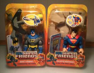 Mattel DC Super Friends Batman Throwing Action & Superman 2 Figure Lot