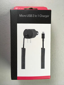 T-Mobile 2 in 1 Car & Wall Charger Rapid Charger for Micro USB (open box)